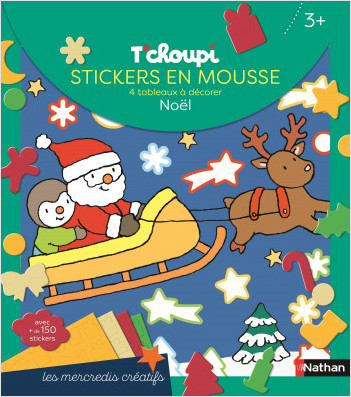 T'choupi - Stickers en mousse - 4 tableaux à décorer - Ma pochette créative de Noël - Dès 3 ans