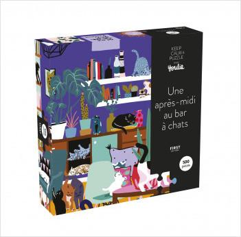 Coffret puzzle Une après-midi au bar à chats - puzzle 500 pièces - Keep calm and puzzle