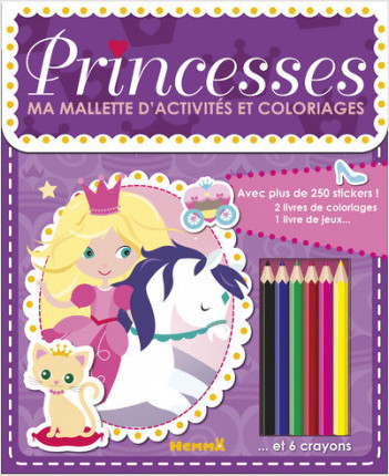 Ma mallette d'activités et coloriages - Princesses (Fond mauve)