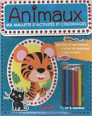 Ma mallette d'activités et coloriages - Animaux (Fond vert)