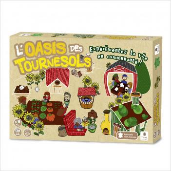 L'Oasis des Tournesols – Fabrication française. Jeu de société de 3 à 6 joueurs. Jeu coopératif de gestion : vivre ensemble, écologie, dialogue, ressources, modes de coopération, autosuffisance